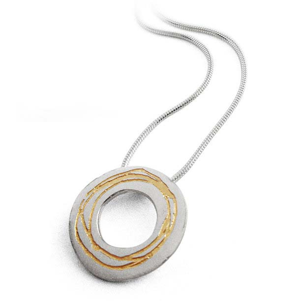 KS87A Etched Silver Necklace
