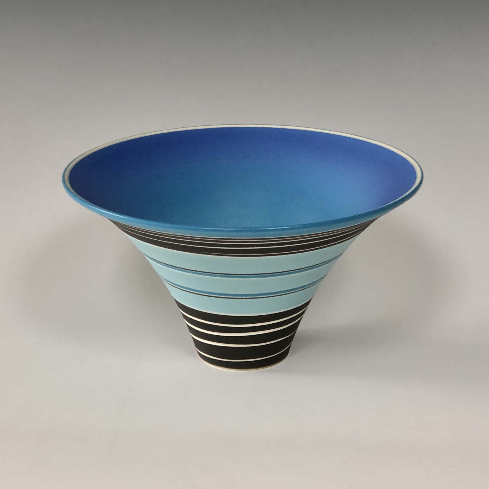 Pot 6. Turquoise:Jade:Black flared bowl
