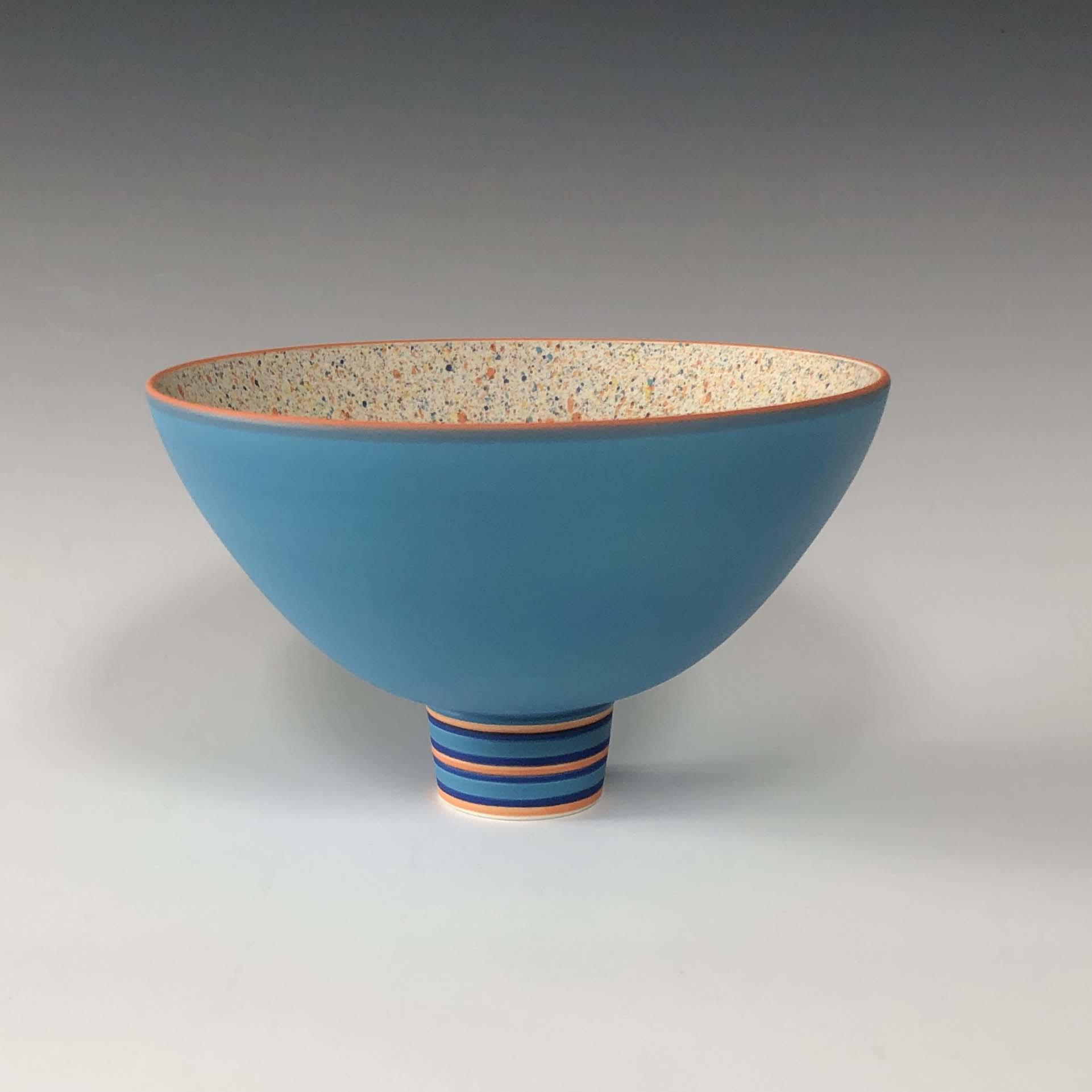 Pot 9. Turquoise:Orange flecked bowl on striped foot